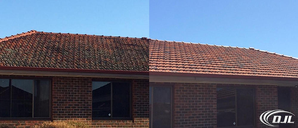Before and after roof high pressure cleaning