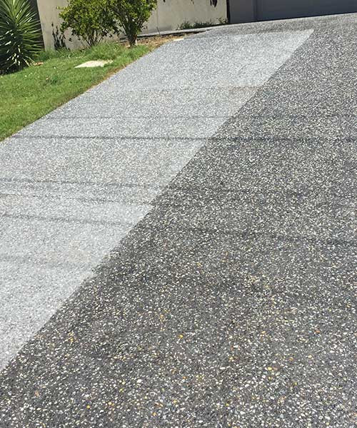 drive cleaning exposed aggregate