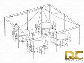 Pole Tent 20x20 3D Seating For 32 Rounds