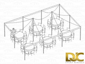 Pole Tent 20x30 3D Seating For 48 Rounds
