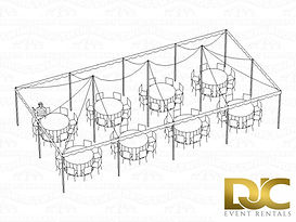 Pole Tent 20x40 3D Seating For 64 Rounds