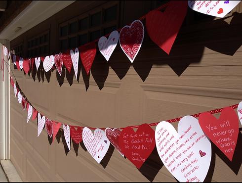 Hearts on garage door
