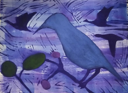 Birds LInocut in Blue and Violet with Gr