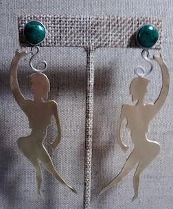 Dancing Women Earrings with Malachite