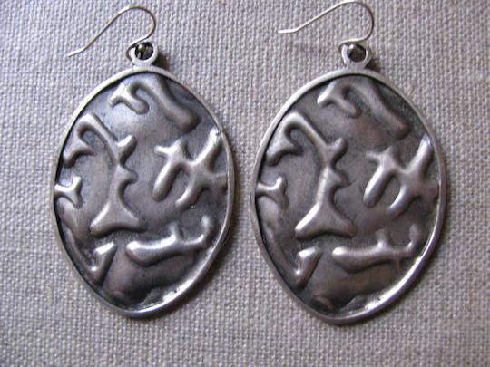 Shield Earrings in Sterling Silver