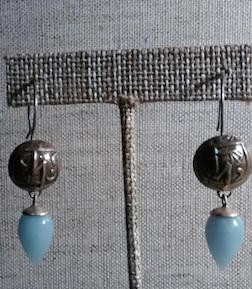 Coin Earrings with Chalcedony