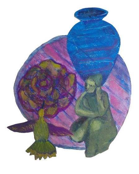 Still Life Circle with Crone, Small Blue