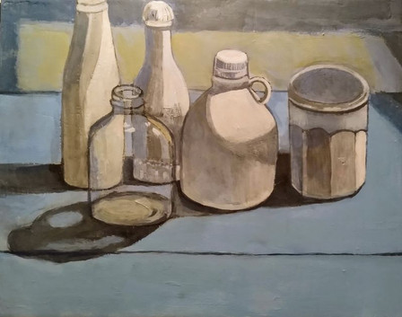 Still Life Acrylic Painting with White B