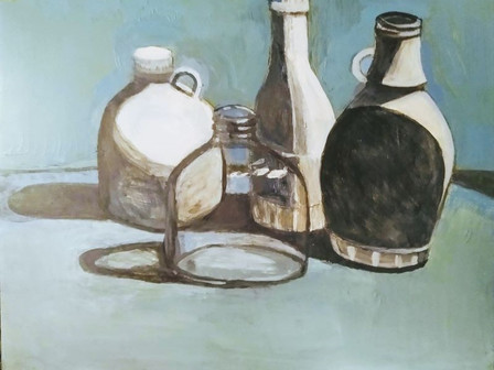 Still Life Acrylic with 3 White Bottles