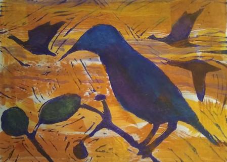 Birds Linocut in Orange, Blue and Green.