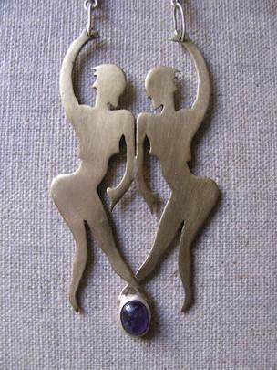 Two Dancing Women with Amethyst Neckpiece