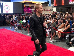 At New York Time Square Fashion Show on the Red Carpet