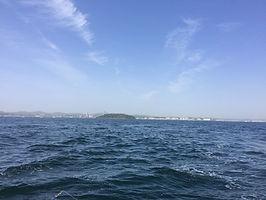 横須賀市大津港、真アジ乗合船より猿島を見渡す海からの眺め。