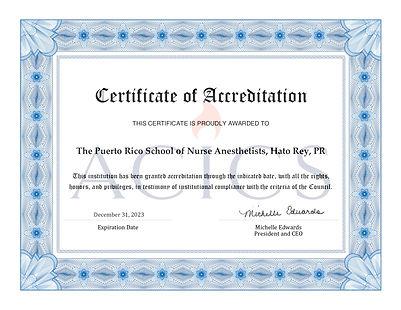 ACICS Cert of Accreditation PRSNA,  Hato