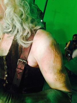 Pan - Paul Kaye Wig, Make up. Scars on arms