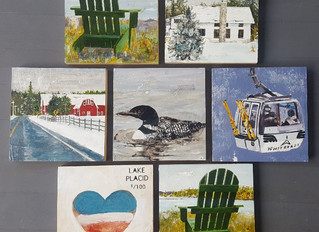 "8""x8"" Lake Placid winter paintings"