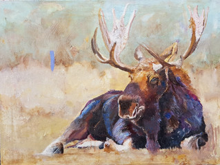 Small Moose oil painting