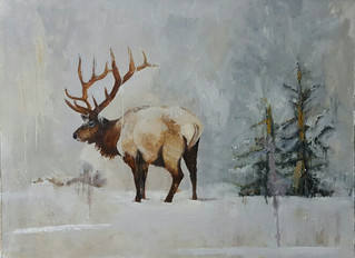 The Elk in Winter, 30 x 40 oil on linen