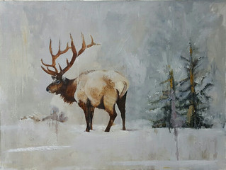 The Elk in Winter, 30 x 40 oil on linen