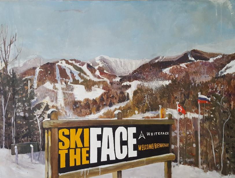 Whiteface Ski Mountain, oil on linen