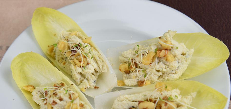 Raw Vegan Herbed Cream Cheese Endive Bites
