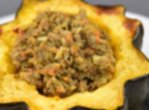 Lentil Stuffed Acorn Squash 