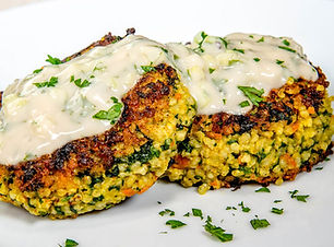 Vegan Millet Cakes with Spinach and Carrots