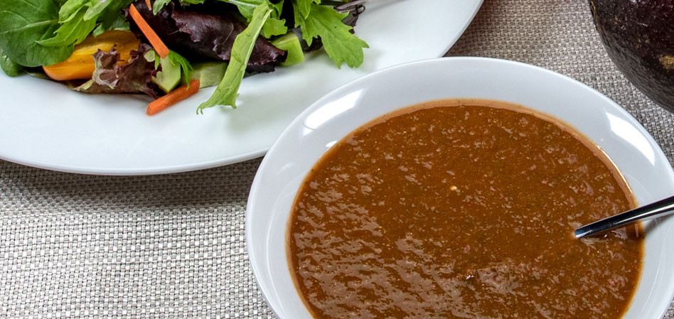 Vegan oil-free red pepper cilantro dressing