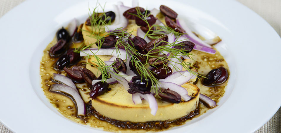 Vegan Baked Almond Feta with Onion and Olives