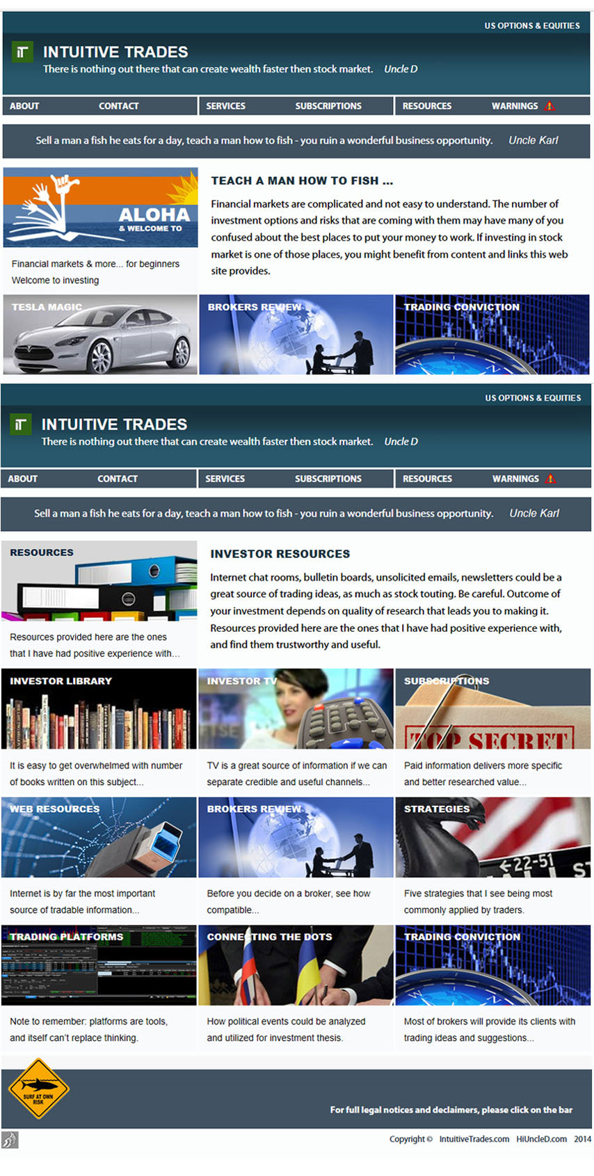Intuitive Trades website