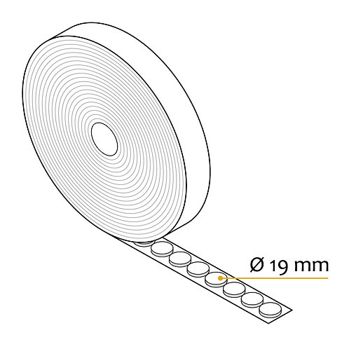 Rund kardborre 19mm i diameter för hög temperatur