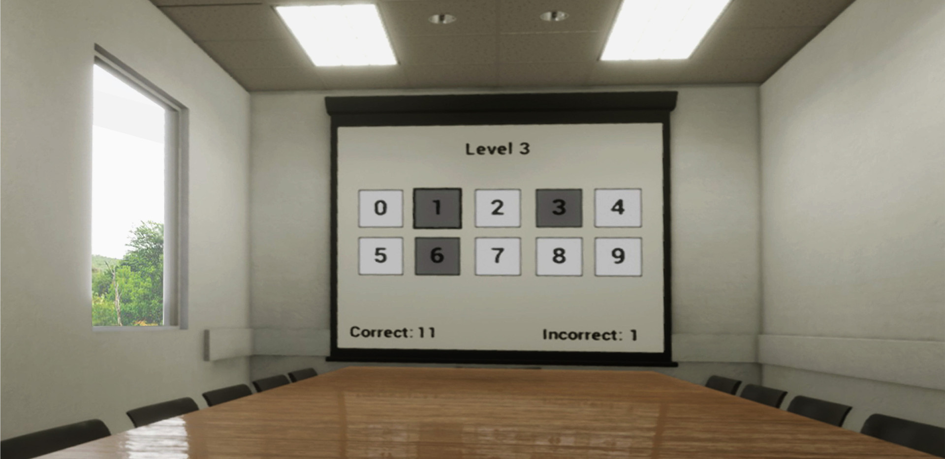 A two-dimensional capture from the actual immersive 3D experience, showing the Digit Span Test in the virtual classroom with a side-window.
