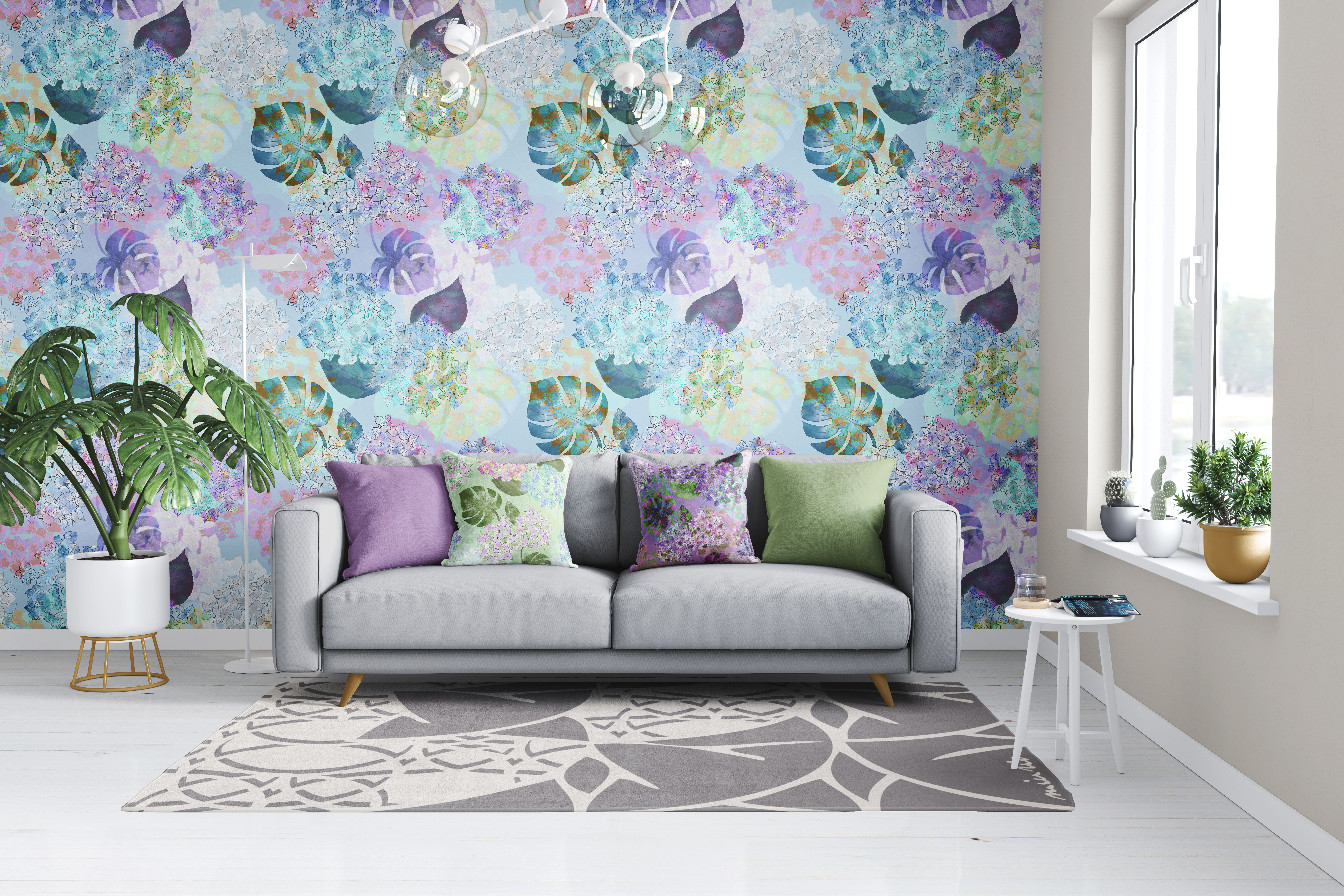 HORTENSIA PARADISE in light blue wallpaper
