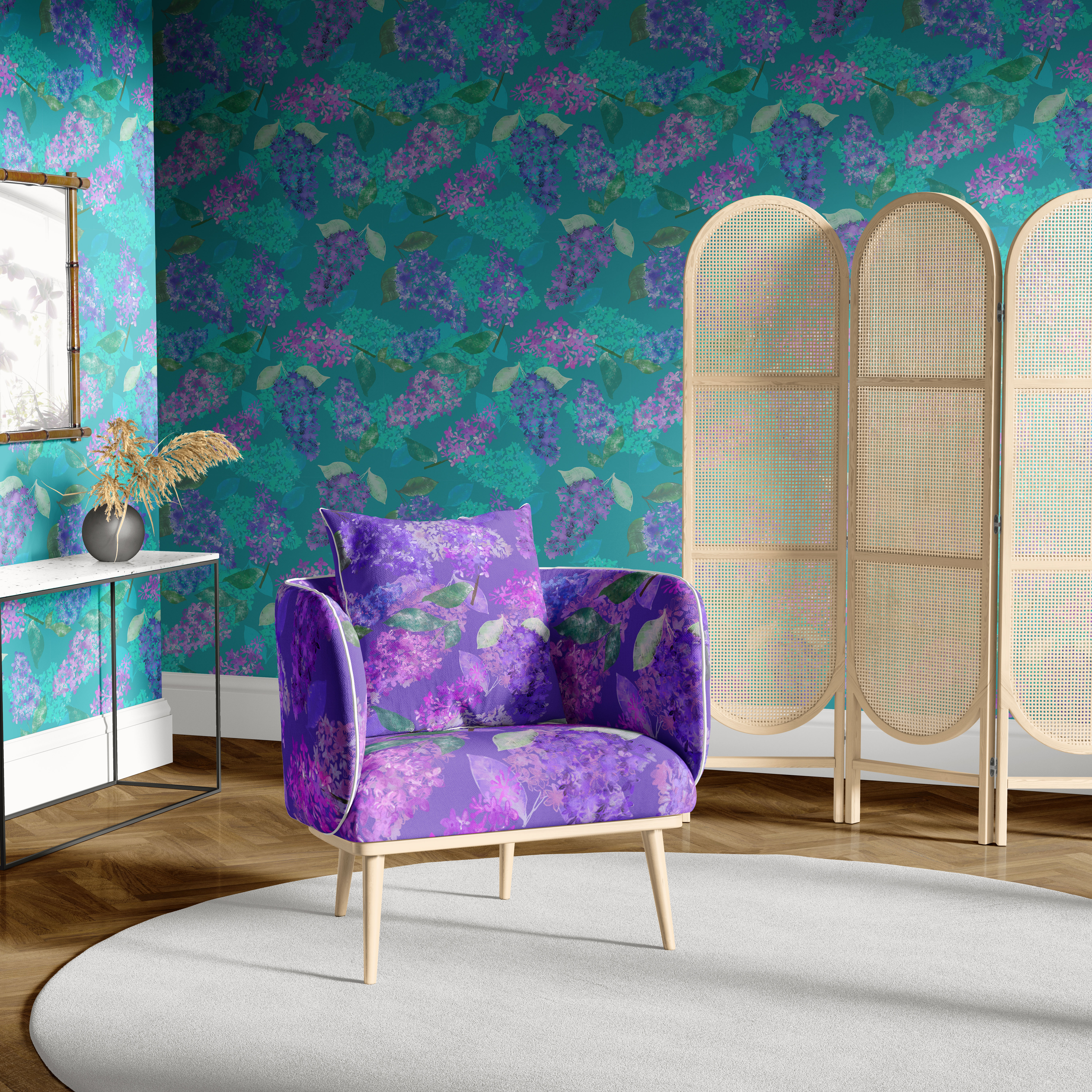 LILAC GARDEN in turquioise wallpaper