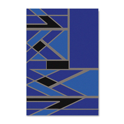 TILED ARROW IN COBALT-GOLD RUG