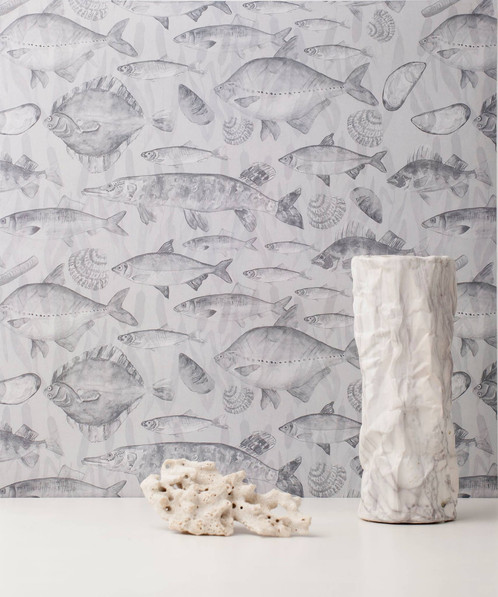 designer home wallpaper. GREY MIX OF FISH WALLPAPER  Designer Home Textiles Tallinn Estonia MIURIO Studio