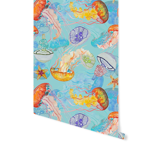 BLUE JELLY FISH WALLPAPER