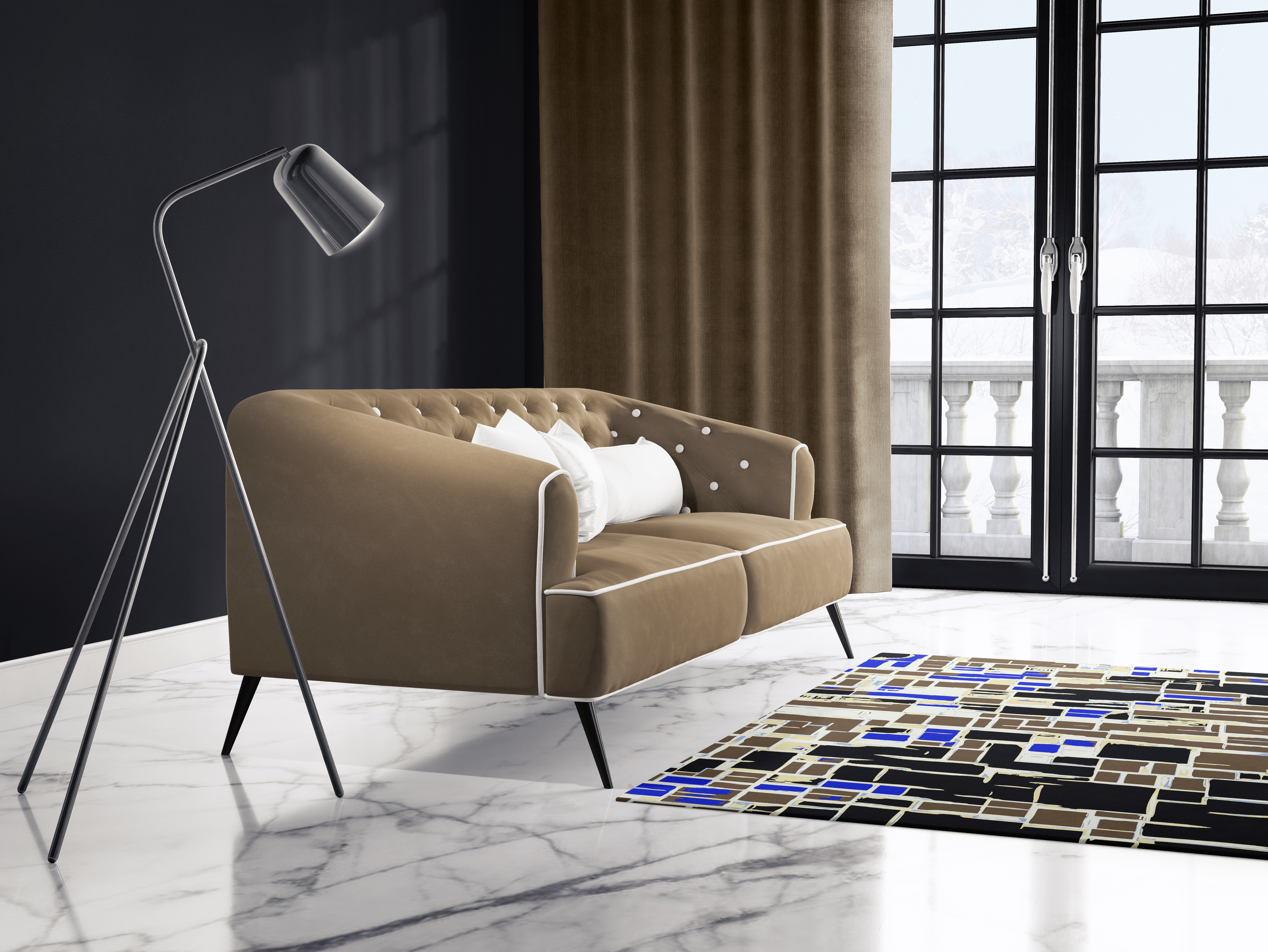 Mondrian in Black-Gold Rug