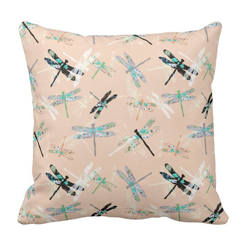 PEACH DRAGONFLY PILLOW