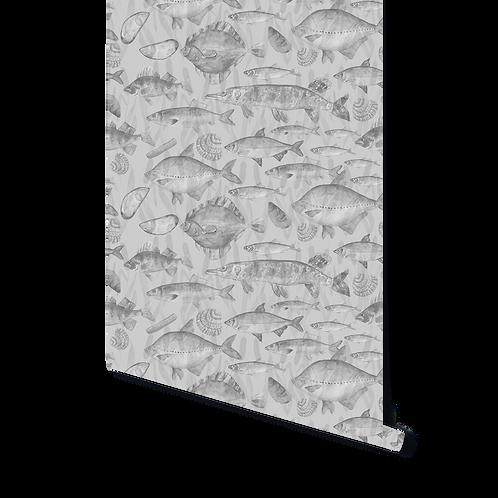 GREY MIX OF FISH WALLPAPER