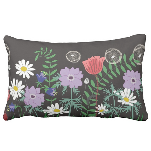 SMALL BLACK MEADOW PILLOW