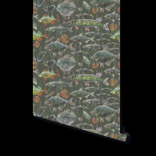 DARK GREEN MIX OF FISH WALLPAPER