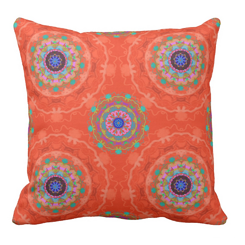 ORANGE MANDALA PILLOW