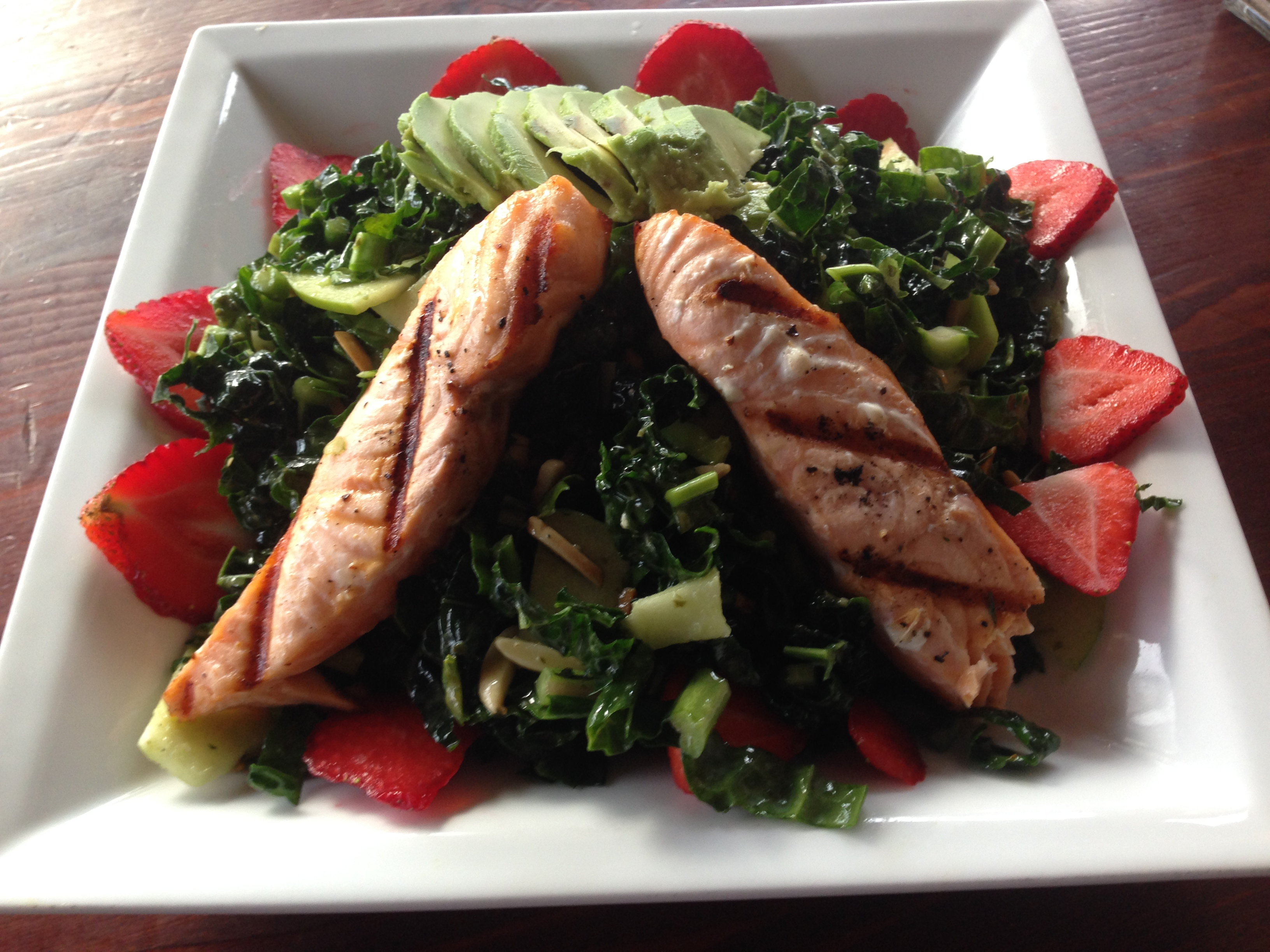 Black Kale Salad with Salmon