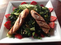 Black Kale Salad with Salmon