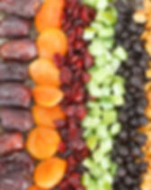 Dried fruit background. Rows of dried da