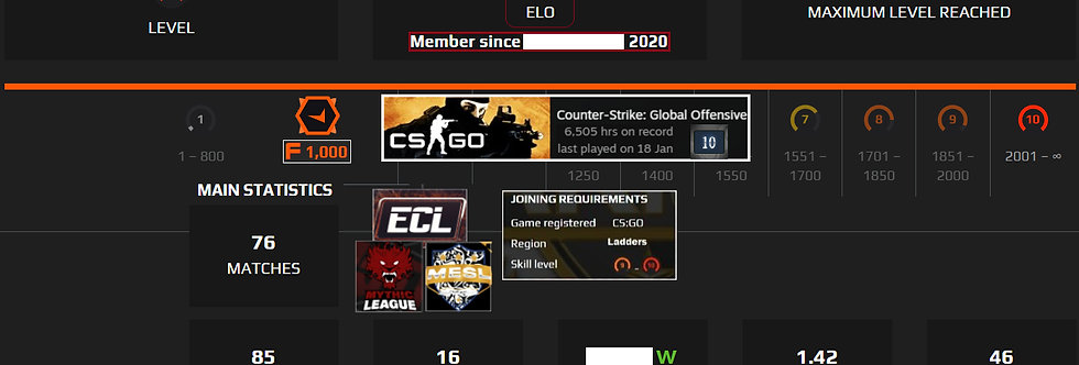 Faceit 2,500 Elo | 1.42 K/D | 6,505 Hours | 1,500 Points | Instant Delivery