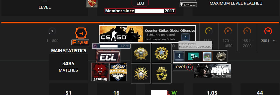 🌪️ 16'Faceit 2,425 Elo | 3485 Matches | 5,861 Hours | +4 Medals | Instant Dl.