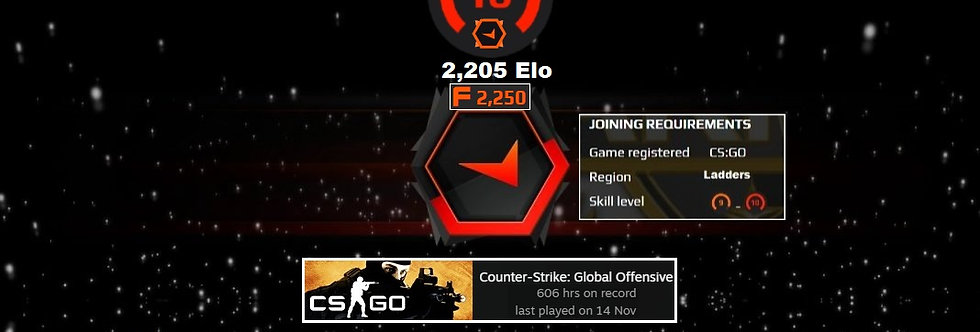 Faceit 2,205 Elo | 1.30 K/D | 606 Hours | 2,250 Points | Instant Delivery