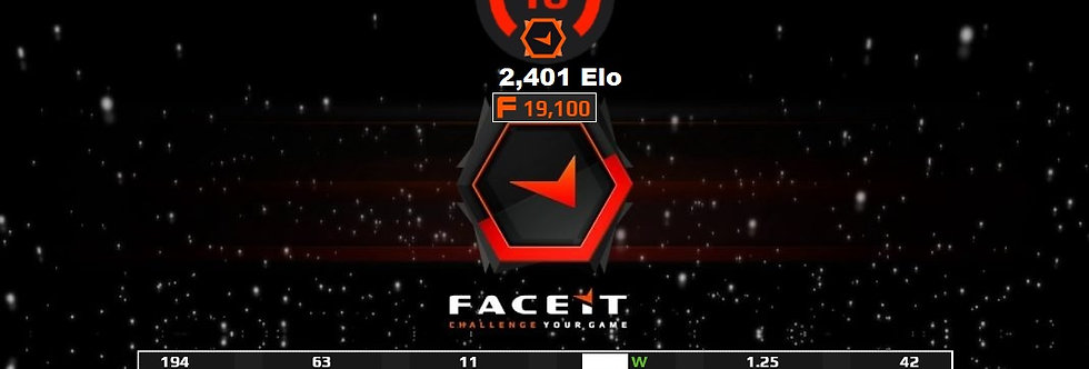 Faceit 2,401 Elo | 1.25 K/D | 194 Matches | 19,100 Points | Instant Delivery